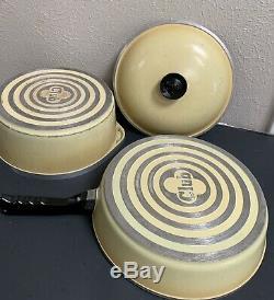Retro Vintage Club Aluminum Gold Yellow 9 Piece Cookware Set With 5 Pots/4 Lids