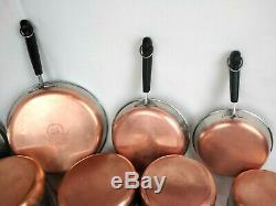 Revere Ware 16 Piece Set 1801 Copper Bottom Pots Pans Lids All Pre 1968