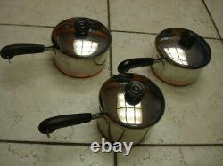 Revere Ware 20 Piece Set 1801 Copper Bottom Stock Pots, Pans & Lids All Euc