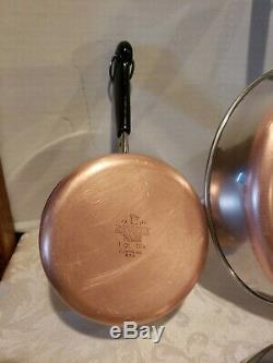 Revere Ware Copper Bottom 10 Piece Cookware Set Skillets, Sauce Pans, #6