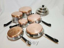 Revere Ware Copper Bottom 10 Piece Set Vintage Pots & Pans Cookware Revereware