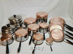 Revere Ware Copper Bottom 25 Piece Set Vintage Pots & Pans Cookware Revereware