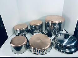 Revere Ware Copper Bottom 8 Piece Set Vintage Pots & Pans Cookware Revereware