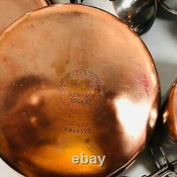 Revere Ware Pre-1968 Copper Clad Bottom 12 Piece Lot Set Pots Pans Lids Skillets