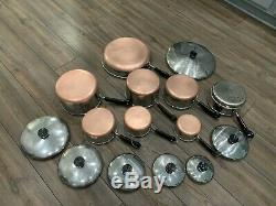 Revere Ware Pre-1968 Copper Clad Bottom 15 Piece Lot Set Pots Pans Skillet Lids