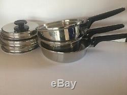 Royal Prestige 7-ply Ss Titanium Silver Cookware 6 Piece Stainless Saucepans USA