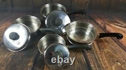 SALADMASTER T304S Stainless Steel 7 Piece Cookware Set 3 Pots 3 Lids Steamer