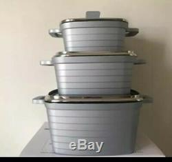 Set Of 3Piece Squre Non Stick Cookware Cooking Pots Induction Marble Coated