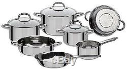 Stainless Steel Kitchen Cooking Pan Pots Cookware Set Non Toxic, 10 Pieces