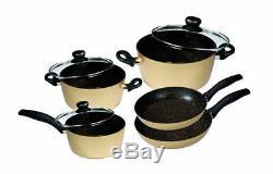 Stoneline Cookware Set Gold 8 Pieces Aluminum Stewing Pan /Saucepan /Cooking Pot