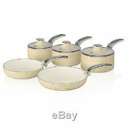 Swan 5 Piece Cookware Set Non Stick Glass Lid Aluminium Induction Safe Cream New