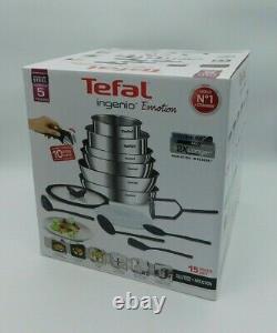 TEFAL Ingénio Émotion Stainless Steel 15-piece cookware set Free P&P RRP £175.00