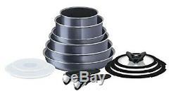 Tefal Ingenio 13 Pieces Non-stick Elegance Saucepan Frypan Cookware Set, Grey