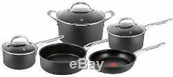 Tefal Jamie Oliver Hard Anodised Induction 5 Piece Premium Cookware Set Black