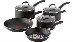 Tefal Premium Cookware Aluminium Induction Pan Set Non-stick Inside & Out Black