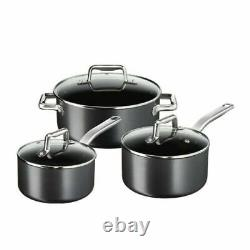 Tefal ProGrade 5 Piece Non Stick Induction Cookware Hard Anodised Pan Set with Lid
