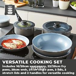Tower Freedom T800200 13 Piece Cookware Set, Detachable Handles, Graphite New