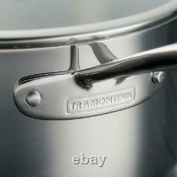 Tramontina 10-Piece Tri-Ply Clad Stainless Steel Cookware Set, with Glass Lids