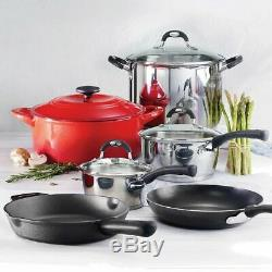 Tramontina 10-piece Ultimate Cookware Set Stainless Steel, Enamel & Cast Iron
