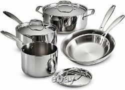 Tramontina Gourmet 8 Piece Tri-Ply Clad Stainless Steel Cookware Set NEW