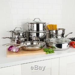 Triple Ply Cookware Set Stainless Steel Aluminum Core 13 Piece Pots Pans Lids