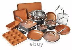 Twenty Piece Non Stick Ceramic Copper Coated Cookware And Bake Ware Kitchen Set