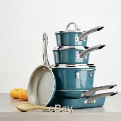 Twilight Teal 10-Piece Porcelain Enamel Nonstick Cookware Set Home Kitchen