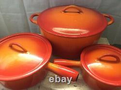 VTG DESCOWARE 6 Piece Flame Orange Enamel Cast Iron Cookware Set Made in Belgium