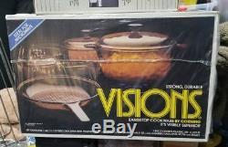 VTG NIB CORNING VISIONS Non-Stick GLASS COOKWARE 7 PIECE SET