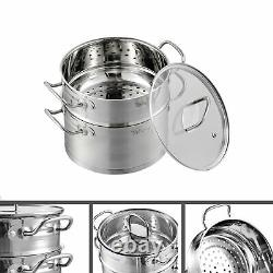 Velaze Cookware Set, 14-Piece Stainless Steel Pot & Pan Sets with Glass lid