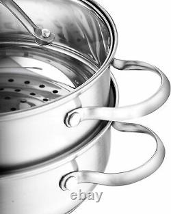 Velaze Cookware Set Stainless Steel Saucepan Casserole Pot Frypans with Glass Lid