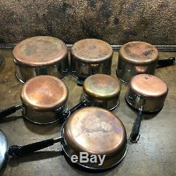 Vintage 14 Piece REVERE WARE COPPER CLAD COOKWARE SET Pot Pans Skillet w Lids
