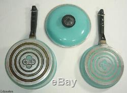 Vintage Club Turquoise Aqua Blue Aluminum 9 Piece Cookware Set 5 Pots/4 Lids