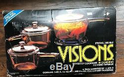 Vintage Corning Ware Visions 6 Piece Cookware Set NewithOld Stock NIB Sealed