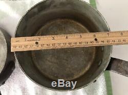 Vintage E Dehillerin Hammered Copper Sauce Pan 3 pieces set