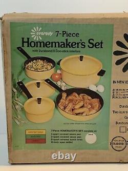 Vintage Everedy 7 Piece Homemakers Set Avocado Green Cookware USA Heavy Duty NOS
