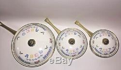 Vintage Flower Country Cookware Enamel Pot Lid Pan Brass Handles 6 Piece Set TL
