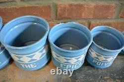 Vintage French Blue Enamelware Canister Set Five Pieces with Lids
