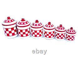 Vintage French Enamelware CANISTER SET 6 Pieces Red Enamel kitchen Lustucru