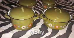 Vintage Moneta Floral Enamelware Cookware Set, 9 piece, 4 lids