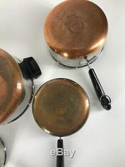 Vintage Revere Ware 5 Piece Set Stainless Steel Copper Bottom 1801 Clinton ILL