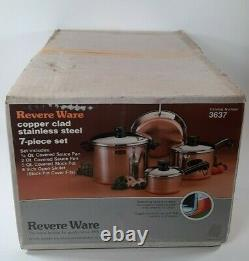 Vintage Revere Ware 7 Piece Set Copper Bottom stainless. Open Box NOS. RARE Find