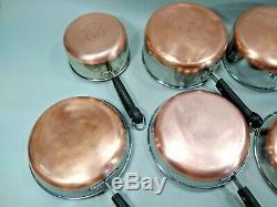 Vintage Revere Ware 8 Piece LOT/SET 4 Sauce Pans 4 Skillets NO LIDS PRE 1968