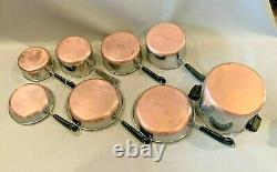 Vintage Revere Ware 8 Piece Set Skillets Sauce Pans Stock Pot