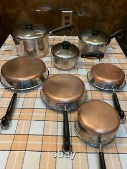 Vintage Revere Ware copper bottom cookware 10 piece set lot 4 2 1 qt 7 8 9 in