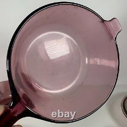 Vintage Vision Corning Pyrex Cookware Cranberry 8 Piece With Lid Saucepan Set
