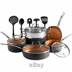 VonShef 11 Piece Copper Pan Set Non Stick Aluminium Cookware Set with Pans & U