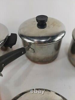 Vtg 10 Piece Lot Set Revere Ware Copper Bottom Cookware Pots Pans with Lids