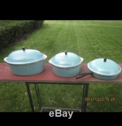 Vtg Club Turquoise Aqua Blue Aluminum 14 Piece Cookware Set Roaster Dutch Pans