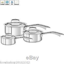 Zwilling Henckels Truclad 3 Piece Cookware Sauce Pan Set 14 18 20 cm & Lids